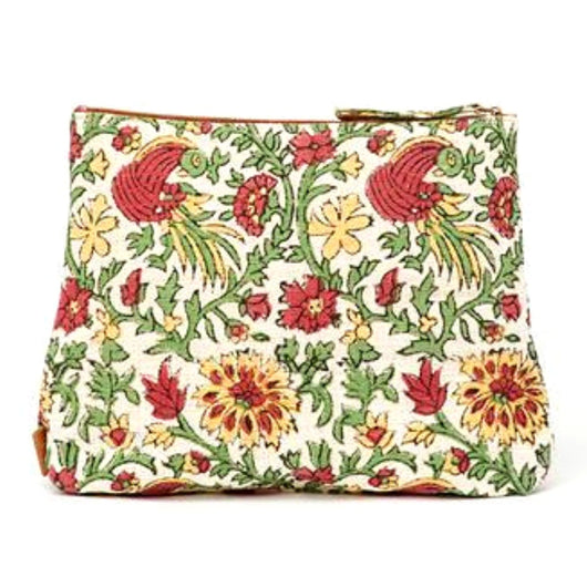 Meena Printed Cotton Vegan Large Pouch - Holiday Flowers