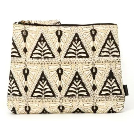 Meena Printed Cotton Vegan Large Pouch - Indian Lace