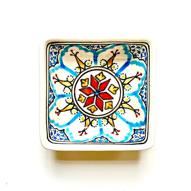 Mehari Hand-painted Small Square Ceramic Bowl