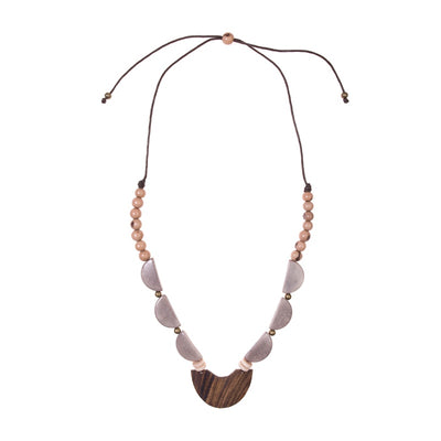Mendoza Tagua and Wood Statement Necklace