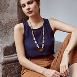 Mendoza Tagua and Wood Statement Necklace lifestyle