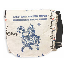 Recycled Cement Sack Messenger Bag - Blue Dragon