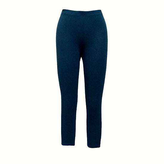 Organic Cotton and Spandex Mid-Calf Leggings-Navy
