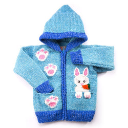 Kid's Hand-knitted Rabbit in Pocket Hooded Sweater