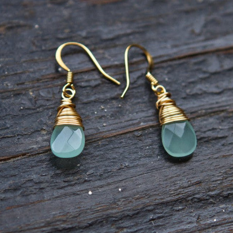 Aqua Chalcedony Drop 14k Gold Filled Earrings