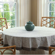 Round Block Printed Cotton Tablecloth with Misty Taupe Print