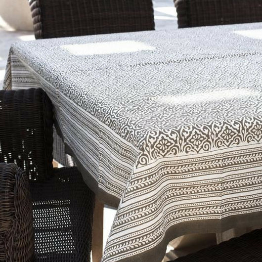 Square Block Printed Cotton Tablecloth with Misty Taupe Print