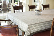 Rectangular Block Printed Cotton Tablecloth with Misty Taupe Print