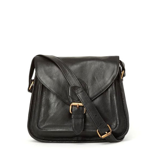 Myra All Black Leather Satchel Bag