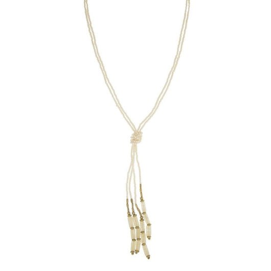 Beaded Hema Knotted Necklace - Cream