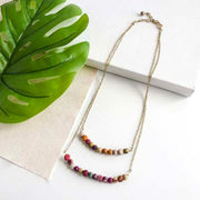 Layered Horizontal Two-Strand Kantha Bead Necklace