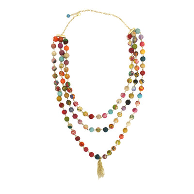 Fair Trade Kantha Bead Tiered Y Necklace