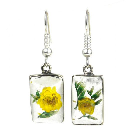 Fair Trade Nahua Flower Rectangular Silver Earrings
