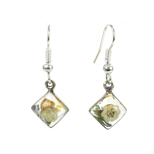 Nahua Flower and CLear Resin Alpaca Silver Rhombus Earrings