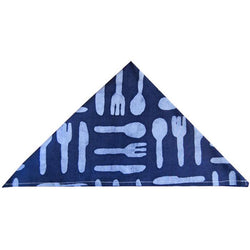 Hand-Batiked Blue Silverware Cotton Napkin by Global Mamas