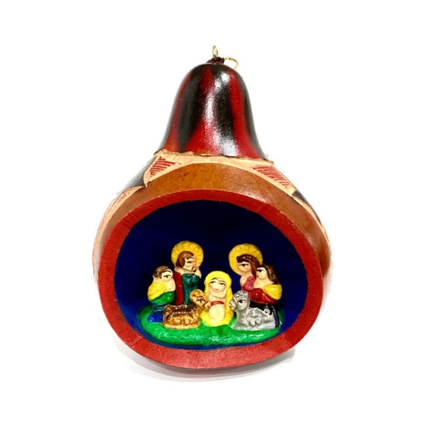 Handmade and Fair Trade Gourd Ornament with Ceramic Nativity Scene