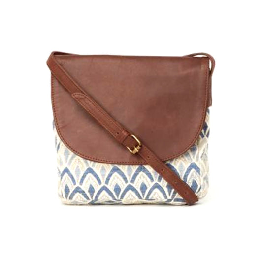 Navya Printed Cotton and Leather Crossbody Bag - Signature Print frontview