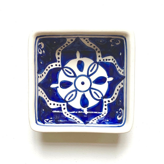 Nigella Cobalt Hand-painted Small Square Ceramic Bowl