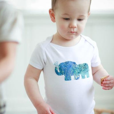 Onesie with Batik Applique - Mama and Baby Elephants by Forai St. Louis