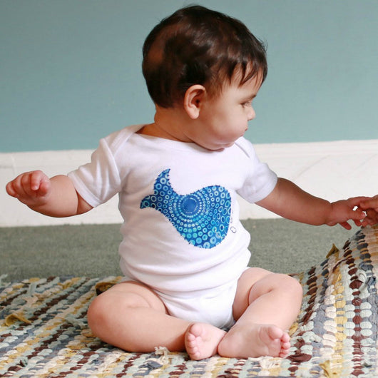 Onesie with Batik Applique - Whale
