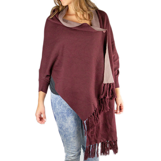 Aubergine and Taupe Organic Cotton Reversible Sweater Shawl