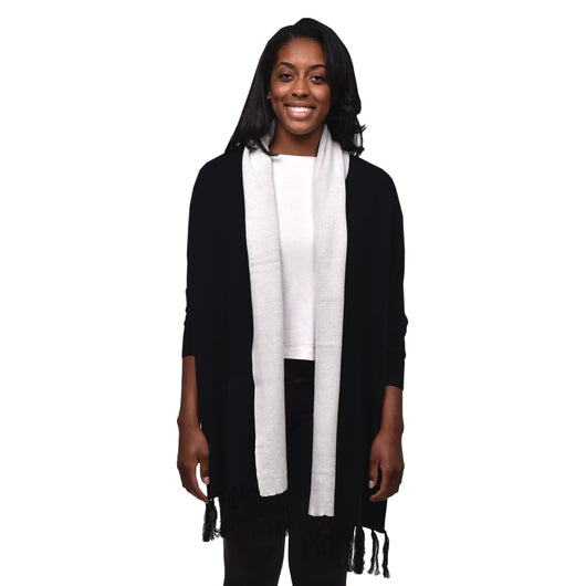 Organic Cotton Reversible Sweater Shawl - Black/Natural