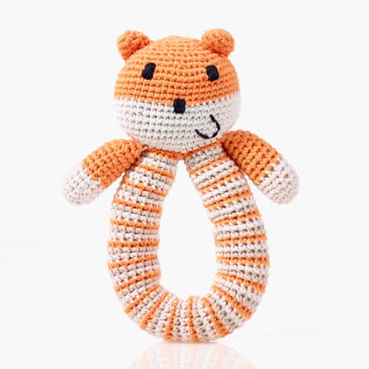 Pebble Organic Orange Bear Ring Rattle