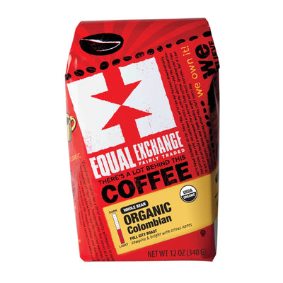 Equal Exchange Organic Colombian Full City Coffee 12 oz Whole Bean