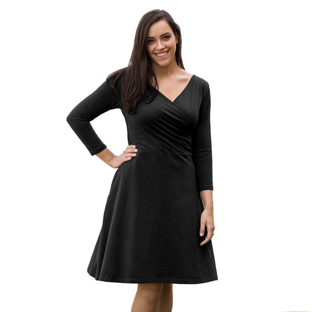 Organic Cotton 3/4 Sleeve Crossover Black Dress by Maggies Organics