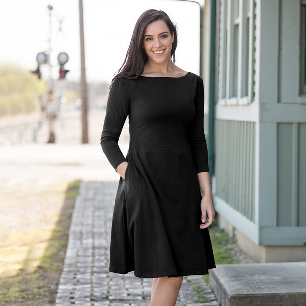 Organic Cotton 3/4 Sleeve Crossover Black Dress by Maggies Organics lifestyle