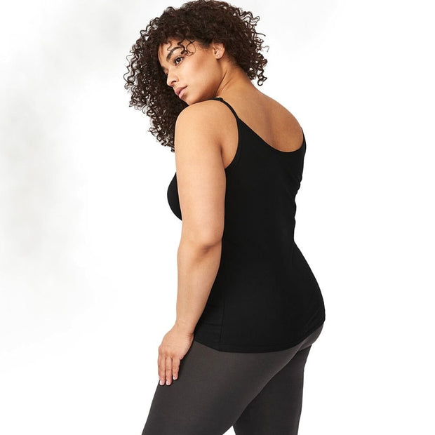 Organic Cotton Essential Camisole - Black back view
