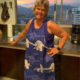 Printed Batik Fabric Reversible Apron - Blue Elephants lifestyle