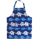 Printed Batik Organic Cotton Reversible Apron with Elephants Print