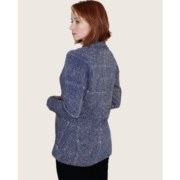 Organic Fleece Mila Cardigan Jacket Blue - backview