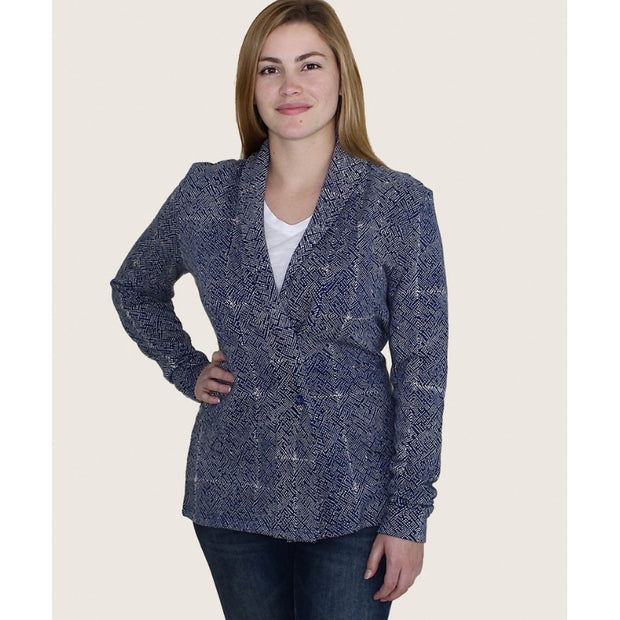 Organic Fleece Mila Cardigan Jacket Blue - closed