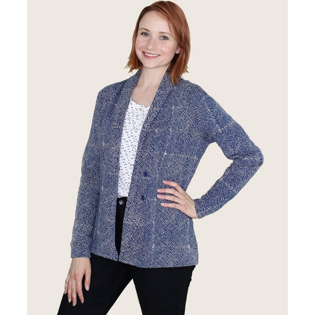 Organic Fleece Mila Cardigan Jacket Blue - open