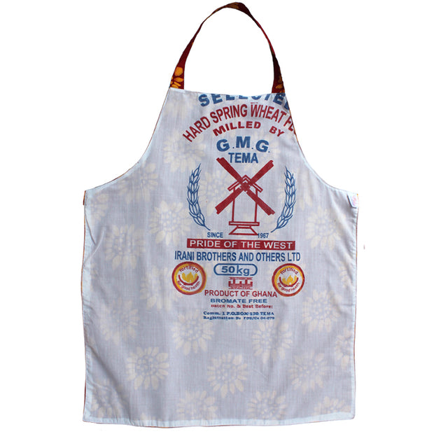 Global Mamas Printed Batik Fabric Reversible Apron - Sunflower Red-reverse side