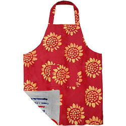 Global Mamas Printed Batik Fabric Reversible Apron - Sunflower Red