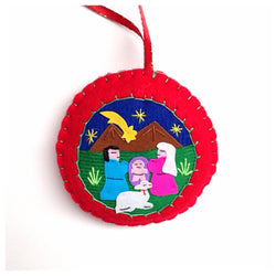 Hand-stitched arpillera nativity scene round fabric ornament
