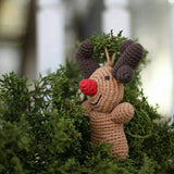 Hand-crocheted Rudolph ther Reindeer Ornament on tree
