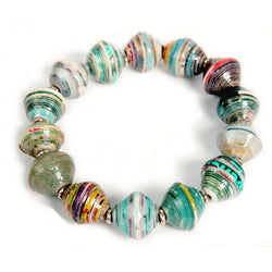 Recycled Paper Bead Stretch Bangle Bracelet