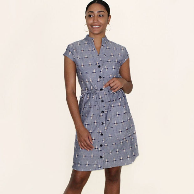 Chambray Ikat Button Dress