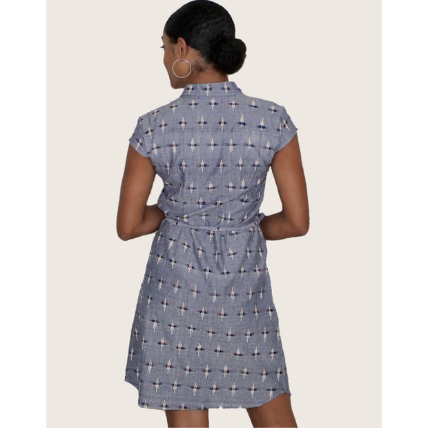 Chambray Ikat Button Dress backview