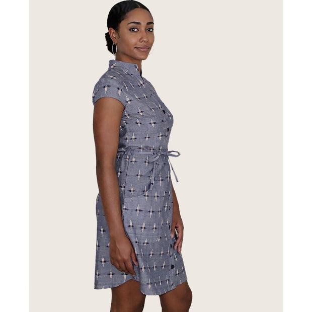 Chambray Ikat Button Dress sideview