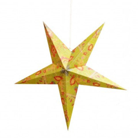 22-inch Recycled Paper Star Lantern - Paisley