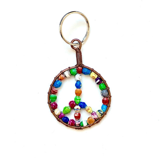 Multicolor Paper Bead Keychain - Peace Sign