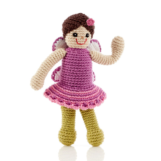 Pebble Fairy Rattle Toy - Mulberry dress