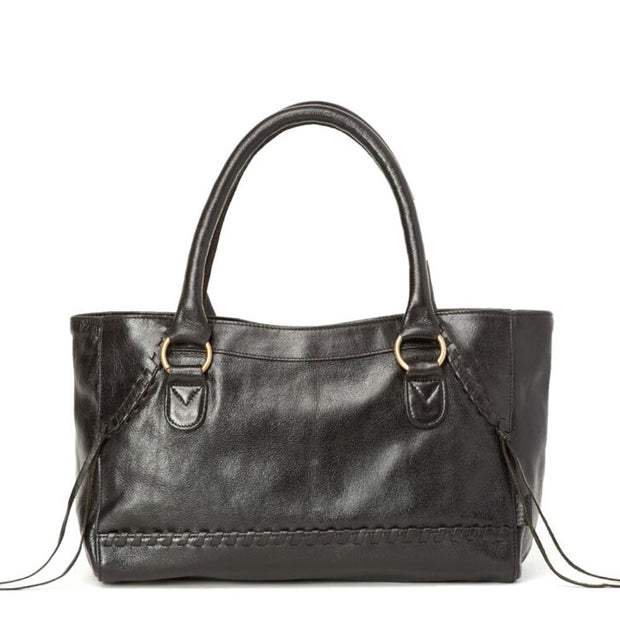 Pema All Leather Handbag with Strap - Black backview