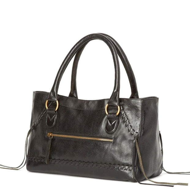 Pema All Leather Handbag with Strap - Black sideview