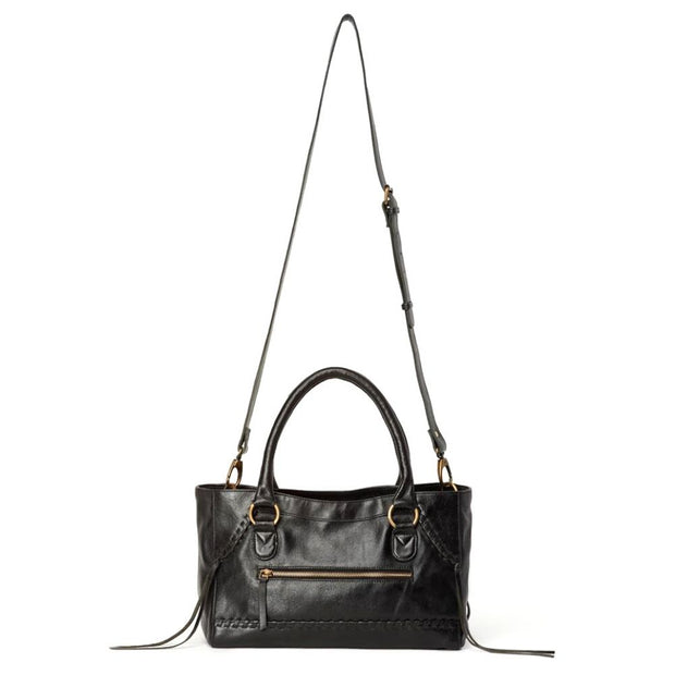 Pema All Leather Handbag with Strap - Black with detachable strap